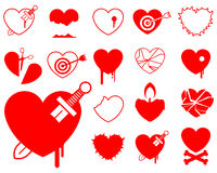 Heart icon collection - blood/violence Royalty Free Stock Photography