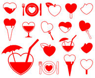 Heart icon collection - food/b. Everage - design elements vector illustration