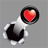 Heart icon coming out of hole Royalty Free Stock Image