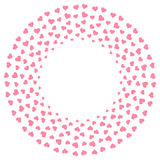Heart icon flat color design pattern circle shape pink color. Isolated on white color background, with copy space center vector illustration