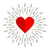 Heart icon in flat design with burst, vector. Illustration royalty free illustration