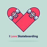 Heart icon in flat design. Love symbol. Valentine`s Day sign. Skateboarding logo isolated on blue background with shadow. Royalty Free Stock Image