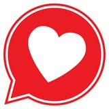 Heart icon in flat style, Heart in a red speech bubble icon, love icon, valentines day icon, Heart vector. Illustration royalty free illustration