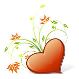 Heart icon with flowers Royalty Free Stock Photography