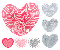 Heart icon formed of two overlapping fingerprints Royalty Free Stock Photography