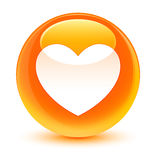 Heart icon glassy orange round button Stock Images