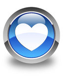 Heart icon glossy blue round button Stock Photography