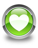 Heart icon glossy green round button Stock Image