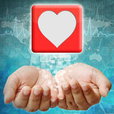 Heart icon on hand Royalty Free Stock Photo
