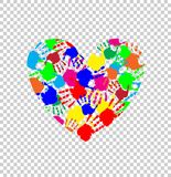Heart icon made of colored hand prints. Vibrant heart icon made of colored hand prints isolated on transparent background. Vector illustration, logo, clip art Royalty Free Stock Image