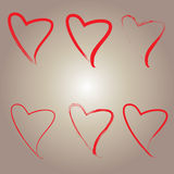 Heart icon. Many heart icon brown background Royalty Free Stock Photo