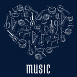 Heart icon with musical instruments. Heart shape, created of guitar, drum, trumpets, horn, piano, violin, harp and mandolin musical instruments. Love music Royalty Free Stock Photo