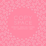 Heart icon outline stroke flat color design pattern circle shape white color isolated on pink Stock Image