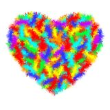 Heart icon. A real symbol of love for Valentine s day with the sign of the hairy furry all colour. Flat style for graphic and web. Design, logo. Real barbed Royalty Free Stock Photography