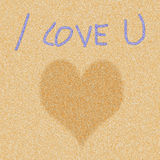 Heart icon on sand pattern Royalty Free Stock Photography
