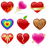 Heart icon set. Valentine's heart shaped icon set Royalty Free Stock Photos