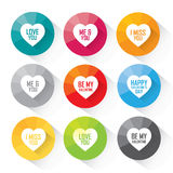 Heart icon set with greetings - colorful vector icons Royalty Free Stock Image