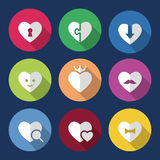 Heart Icon Set. With long shadows and circles. Colored vector romantic symbols in flat style Stock Photos
