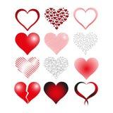Heart Icon Set. Love Heart Icon Set, Symbol, Vector, Illustration Stock Photography