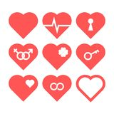 Heart Icon Set. Nine icons with love symbols, vector illustration Stock Images