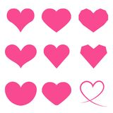 Heart Icon Set. Pink Heart Icon Set on White Background Vector Illustration Stock Photo