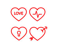 Heart icon set. Red lined hearts with beat, pulse inside, arrow, lock and love Stock Images