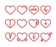 Heart icon set. Red lined hearts with beat, pulse inside, arrow, lock, love, scars Royalty Free Stock Photo