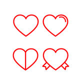 Heart icon set. Red lined hearts with love, ribbons Stock Images