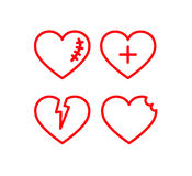 Heart icon set. Red lined hearts with love, scars Stock Photo