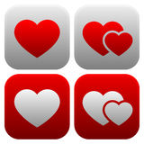 Heart icon set. Single heart, and pair of hearts, two hearts ico Royalty Free Stock Image