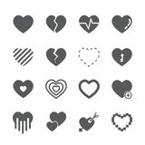 Heart icon set. /16 vector for design Royalty Free Stock Photography
