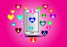 Heart  icon smartphone Royalty Free Stock Photo
