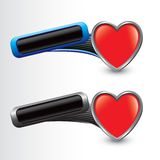 Heart icon on tilted blue and gray banners Stock Image