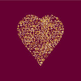Heart icon, vector illustration. Heart icon with gold tinsel. Art vector illustration for your design Stock Photo