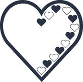 Heart vector outline and full royalty free illustration