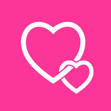 Heart Icon Vector. on Pink  background.  Stock Image