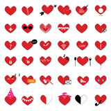 Heart icon vector set Royalty Free Stock Images