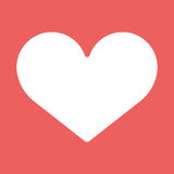 Heart icon. White symbol of love on red background. Heart vector flat icon illustration EPS10. White symbol of love on red background Royalty Free Stock Photos