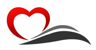 Free Heart Icon With Black Wave Love Valentine Icon Logo Royalty Free Stock Image - 166983176
