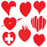 Heart icons. A set of differently presented red love hearts Stock Photo