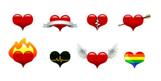 Heart Icons. Collection of vector heart icons: basic heart, banner heart, broken heart, arrow heart, flaming heart, EKG heart, winged heart, gay pride heart Stock Photos