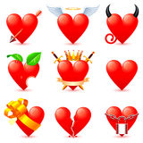 Heart icons. Set of 9 heart icons Royalty Free Stock Photography