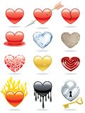 Heart Icons. Set of 12 heart icons Royalty Free Stock Images