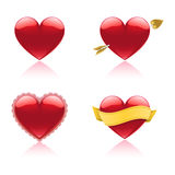 Heart Icons. A set of four glossy glass heart icons Stock Photography