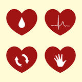 Heart Icons. Four Vector Illustrations of Heart Related Concepts Stock Photo