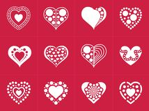 Heart icons collection in trendy flat style isolated on red background. stock photos