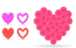 Heart icons composed from rose flowers Stock Photo