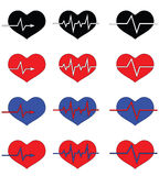 Heart icons of different color. Raster Stock Image