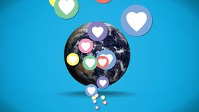 Heart icons and earth. Digitally generated animation of colorful heart icons moving up while a globe rotates in the background royalty free illustration