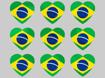 Heart icons with the flag of Brazil. I love Brazil. Vector. Illustration Royalty Free Stock Images